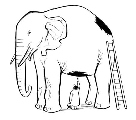Chaval - elephant-peint
