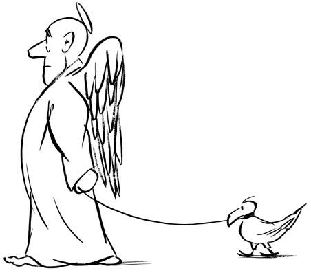 Chaval - oiseau-en-laisse