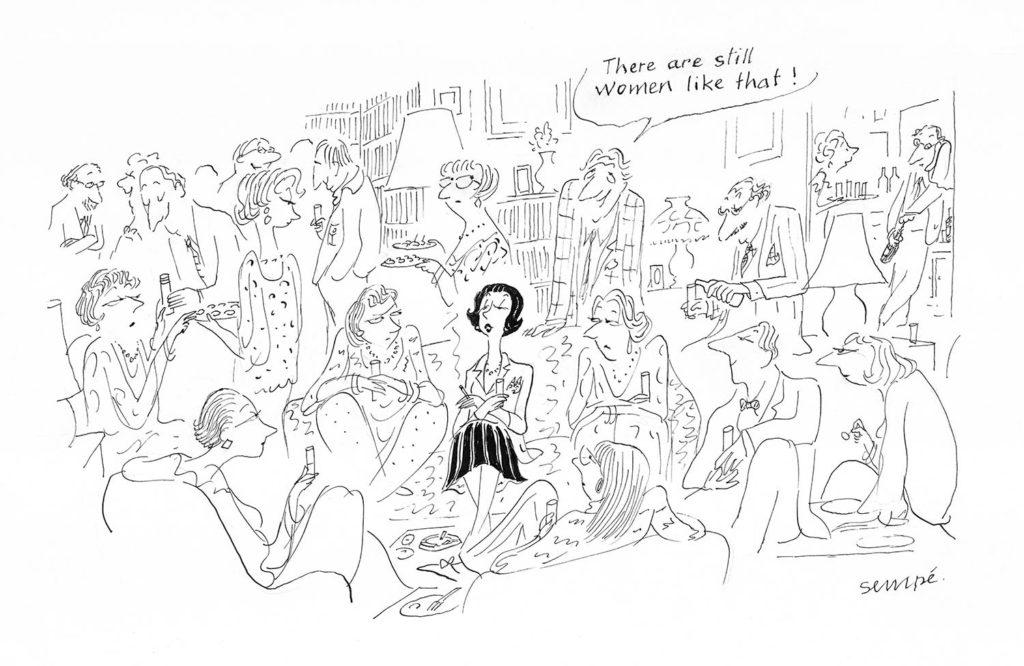 Jean Jacques Sempé - Dessin reproduit dans le récit dessiné de Sempé 'Par Avion' à la page 19
