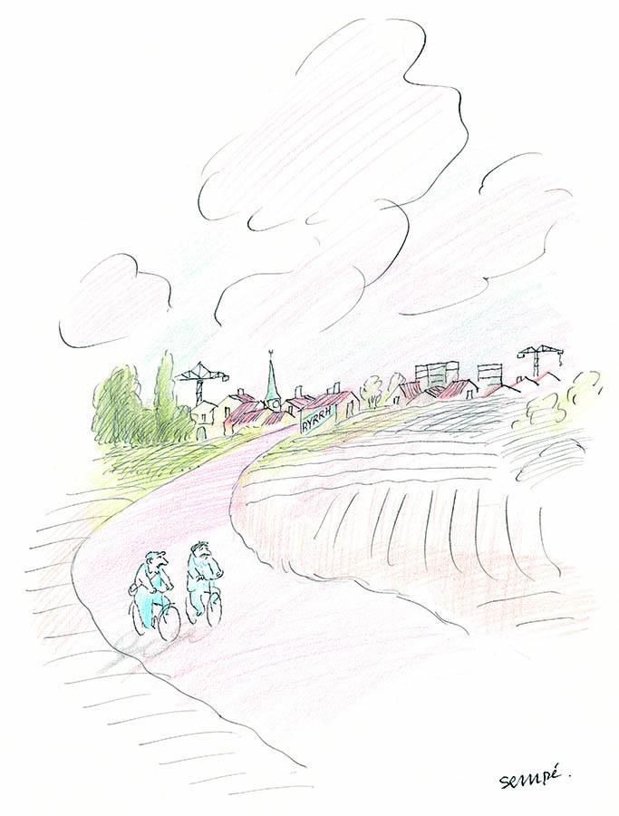 Jean-Jacques Sempé - Le retour en vélo - 445 X 365 mm