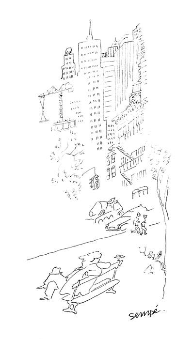 Jean Jacques Sempé - banc-NYC