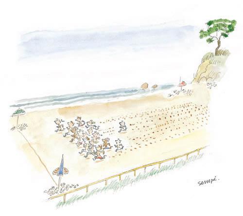 Jean Jacques Sempé - course-plage