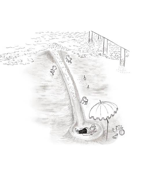 Jean Jacques Sempé - inondation-plage