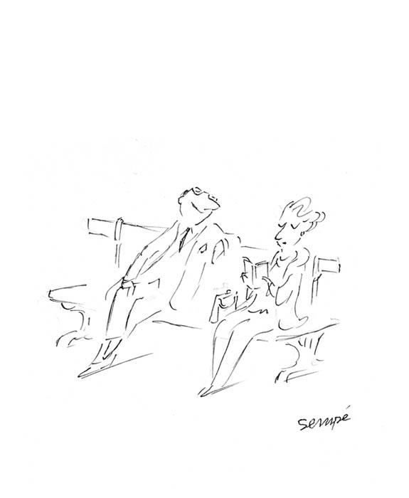 Jean Jacques Sempé - liseuse-couple-banc