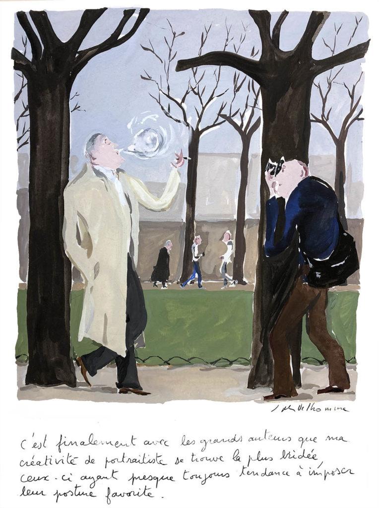 Jean-Philippe Delhomme - Dessin reproduit dans le livre 'La chose littéraire' (Delhomme & Denoël, 2002) à la page 42