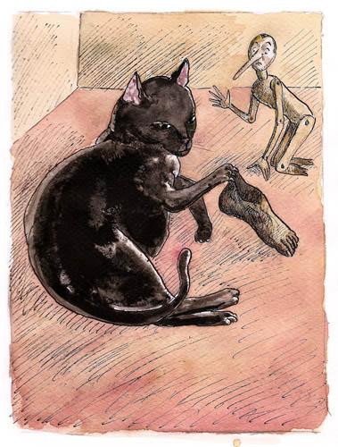 Roland Topor - chat-pieds