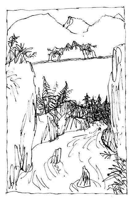 """Dessin d'illustration (version) d'après la fable de Jean de la Fontaine """"Les Deux Chèvres"""", 'Fifty Fables of La Fontaine', Folio Society, 2013. Format encadré : 300 X 380 mm. © Quentin Blake."""