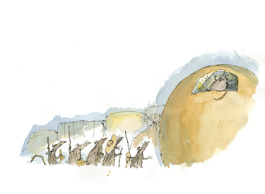 """Dessin d'illustration (version) d'après la fable de Jean de la Fontaine """"Le Rat qui s'est retiré du monde"""", 'Fifty Fables of La Fontaine', Folio Society, 2013. Format encadré : 510 X 350 mm. © Quentin Blake."""