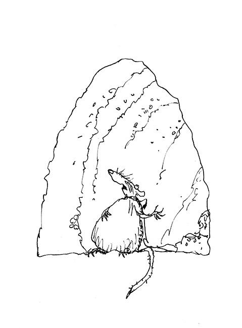 """Dessin d'illustration (version) d'après la fable de Jean de la Fontaine """"Le Rat qui s'est retiré du monde"""", 'Fifty Fables of La Fontaine', Folio Society, 2013. Format encadré : 290 X 330 mm. © Quentin Blake."""