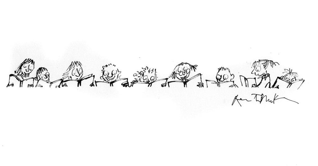 Ligne d'enfants en train de lire, dessin réalisé pour un marque-page, inédit. Format encadré : 460 X 240 mm. © Quentin Blake.