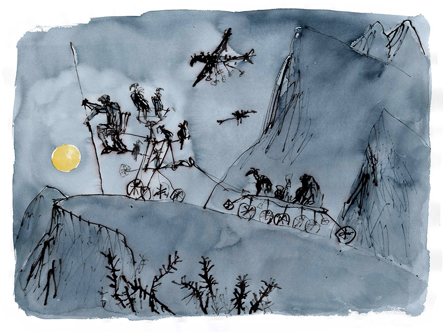 Dessin réalisé pour 'Moonlight Travellers' (version), Quentin Blake / Will Self (Thames & Hudson, 2019), 2017-2018. Format : 900 X 730 mm. © Quentin Blake.