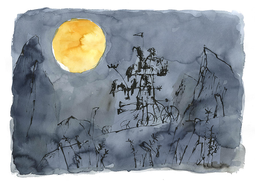 Dessin réalisé pour 'Moonlight Travellers' (version), Quentin Blake / Will Self (Thames & Hudson, 2019), 2017-2018. Format : 900 X 710 mm. © Quentin Blake.