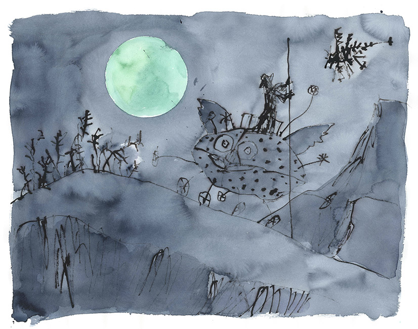 Dessin réalisé pour 'Moonlight Travellers' (version), Quentin Blake / Will Self (Thames & Hudson, 2019), 2017-2018. Format : 870 X 730 mm. © Quentin Blake.