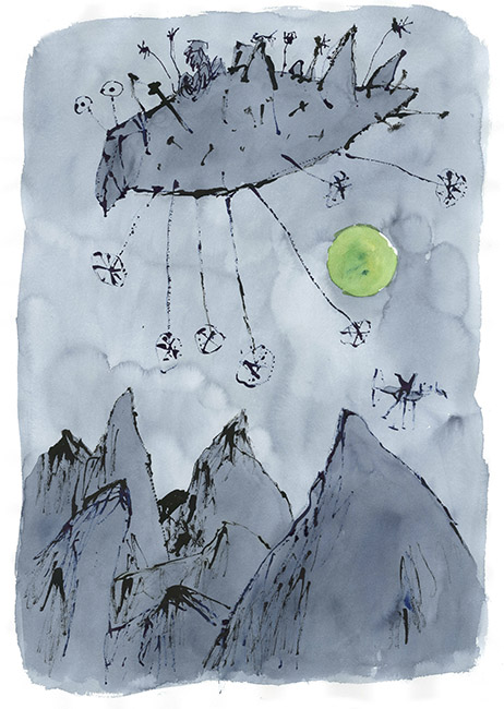 Dessin réalisé pour 'Moonlight Travellers' (version), Quentin Blake / Will Self (Thames & Hudson, 2019), 2017-2018. Format :720 X 930 mm. © Quentin Blake.