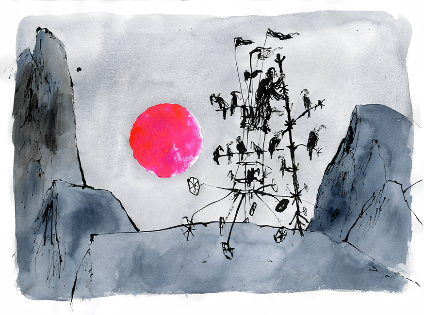 Dessin réalisé pour 'Moonlight Travellers' (version), Quentin Blake / Will Self (Thames & Hudson, 2019), 2017-2018. Format : 930 X 740 mm. © Quentin Blake.