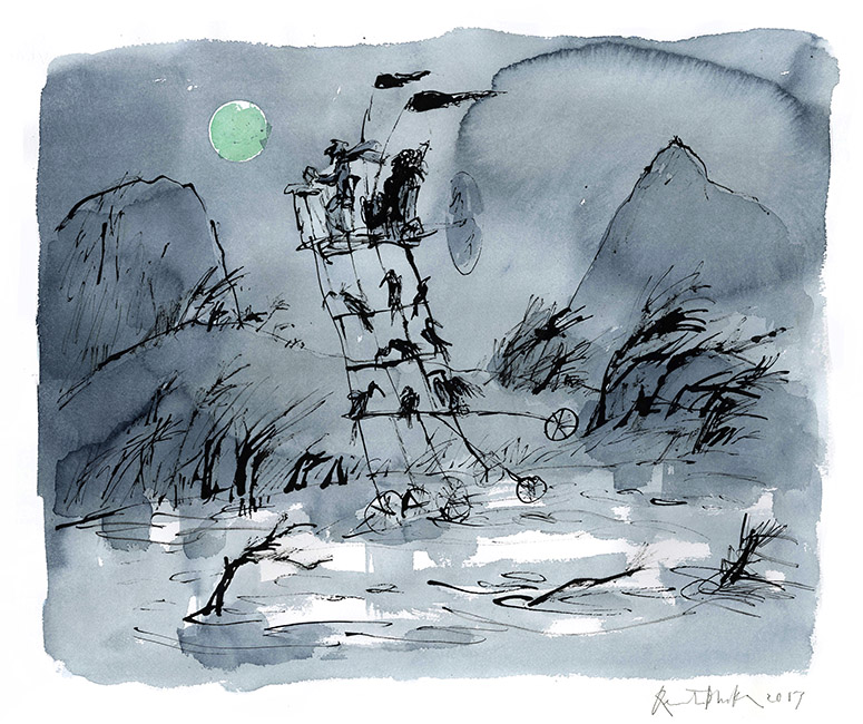 Dessin réalisé pour 'Moonlight Travellers' (version), Quentin Blake / Will Self (Thames & Hudson, 2019), 2017-2018. Format : 830 X 730 mm. © Quentin Blake.