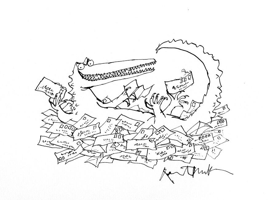 Dessin réalisé pour la série de timbres de la Royal Mail 'Animal Tales' (Les contes d'animaux) : 'L'Énorme Crocodile' de Roald Dahl, 1993 (version). Format encadré : 390 X 310 mm .© Quentin Blake.