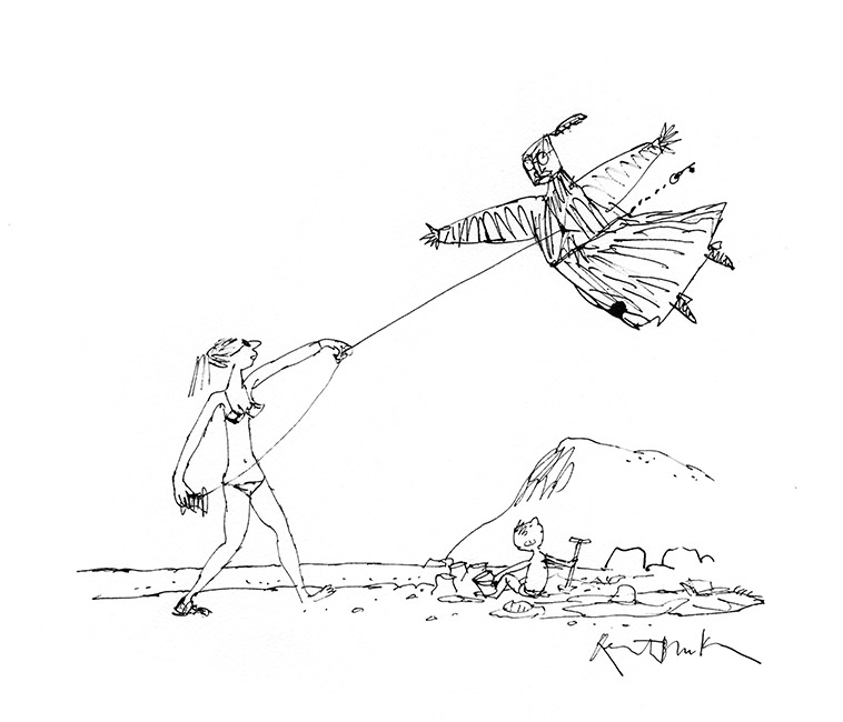 Version de 'The Stern Victorian Kite', 2015. Format : 490 X 430 mm. © Quentin Blake.